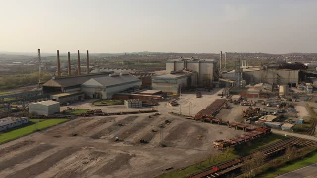 aerial view of the liberty steel site on march 31, 2021 in rotherham, england. british government ministers turned down a request from liberty... - industry stock videos & royalty-free footage