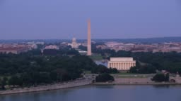 Aerial view of the Lincoln Memorial, Washington Monument and Capitol Building.
