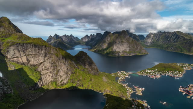 aerial view of the lofoten islands and the sea. - famous place stock videos & royalty-free footage