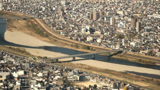 Aerial view of the long bridge at Gifu city, Gifu, Japan