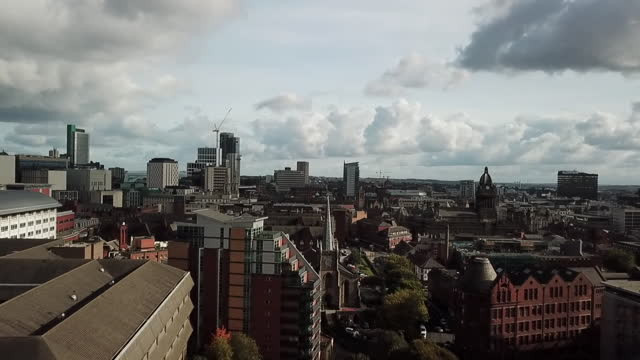 aerial view of the manchester skyline - aerial view stock videos & royalty-free footage