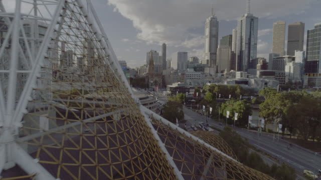 Aerial view of the Melbourne Art Centre Spire with City in the back ground. Melbourne Australia
