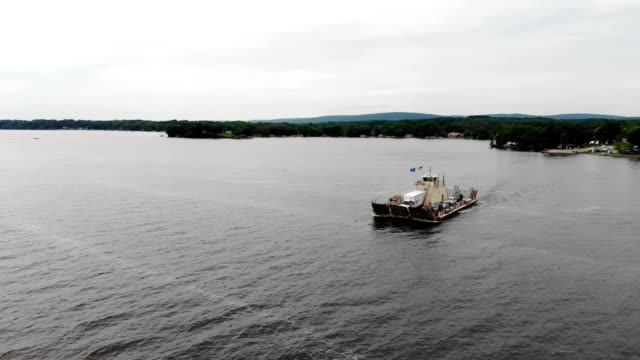 Aerial view of the Merriman Ferry along Lake Wisconsin in Merrimac Wisconsin