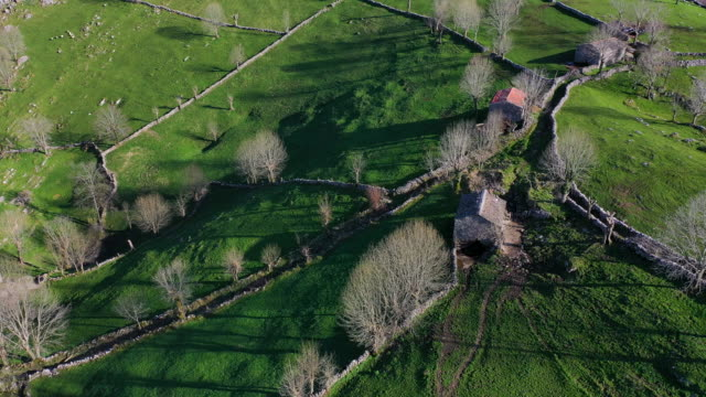aerial view of the miera river valley, landscape in winter, valleys pasiegos, cantabria, spain, europe - bird watching stock videos & royalty-free footage