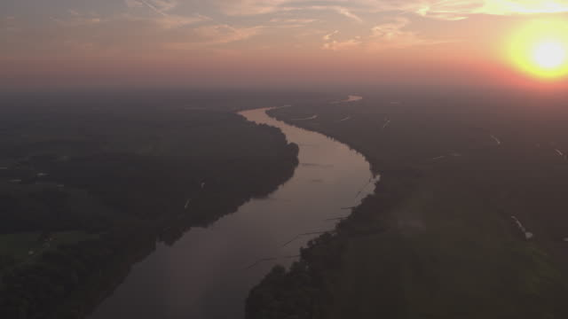 Aerial view of the Missouri River during sunset