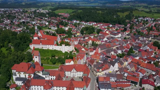 Aerial view of the Monastery of St. Mang and High Castle (Hohes Schloss) in Fussen (Fuessen) am Lech, Allgau, Swabia, Bavaria, Germany, Europe