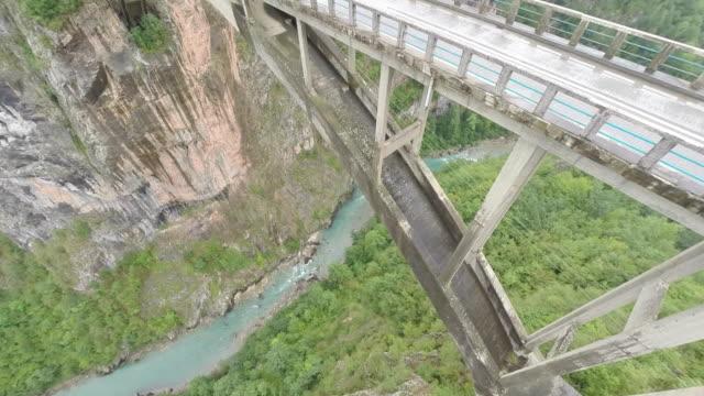 aerial view of the mountain bridge / montenegro - montenegro stock videos & royalty-free footage