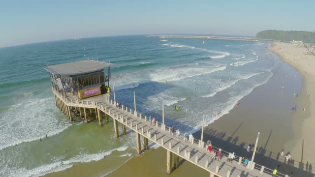 aerial view of the moyo ushaka pier on the durban beachfront - durban stock videos and b-roll footage