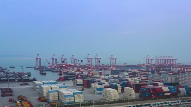 aerial view of the nansha new port at guangzhou free trade zone on april 18, 2020 in guangzhou, guangdong province of china. - container stock videos & royalty-free footage