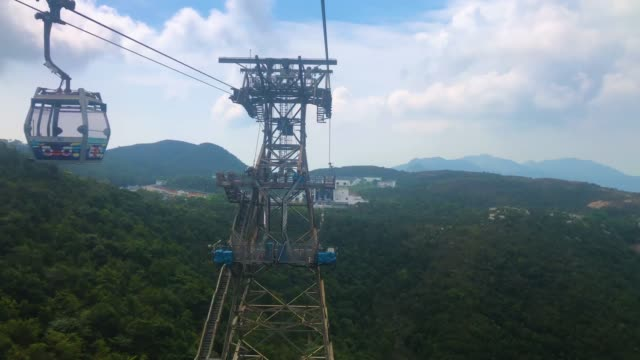 aerial view of the ngong ping village in hong kong - lantau stock videos and b-roll footage