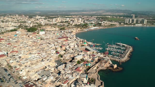 aerial view of the old city of acre and her old port - the crusades stock videos & royalty-free footage