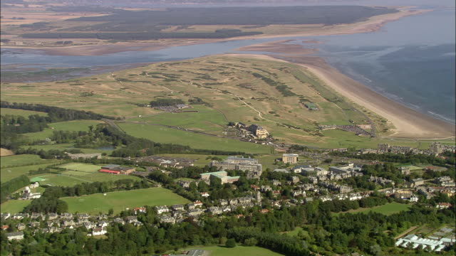 aerial view of the old course at st. andrews links / fife, scotland - st. andrews scotland stock videos & royalty-free footage