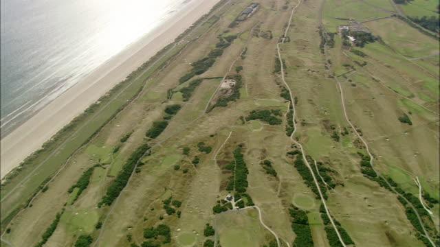 aerial view of the old course at st. andrews links / fife, scotland - links golf stock videos & royalty-free footage