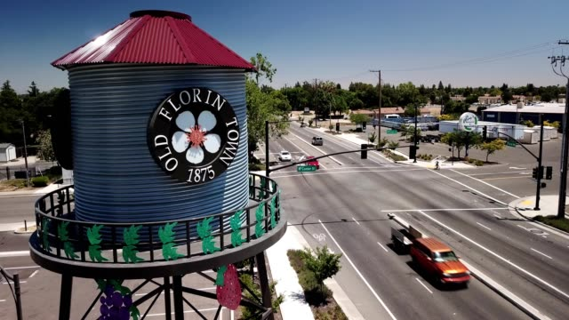 Aerial view of the Old Florin Water Tower in Sacramento California