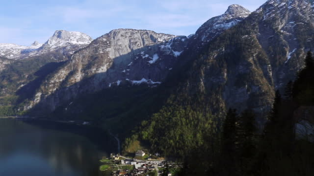 aerial view of the old town at hallstatter see lake at hallstatt ,austria - traditionally austrian stock videos & royalty-free footage