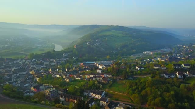 Aerial view of the old town of Saarburg at river Saar, Rhineland-Palatinate, Germany, Europe