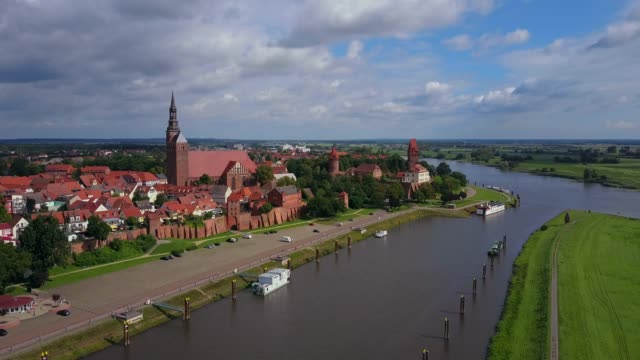 Aerial view of the old town of Tangermnde with church St. Stephen and castle, Elbe River, Saxony-Anhalt, Germany