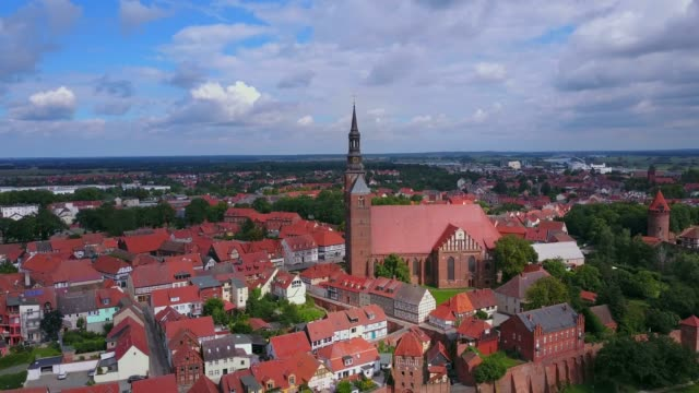 aerial view of the old town of tangermnde with church st. stephen and castle, elbe river, saxony-anhalt, germany - circa 12th century stock videos and b-roll footage