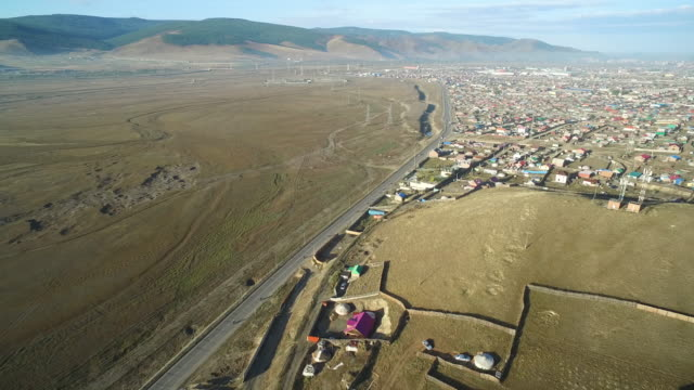 stockvideo's en b-roll-footage met aerial view of the outskirts of mongolia's capital city ulaanbaatar - mongolië