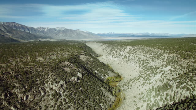 vidéos et rushes de aerial view of the owens river gorge with the sherwin mountain range in the background. - dépression terrestre