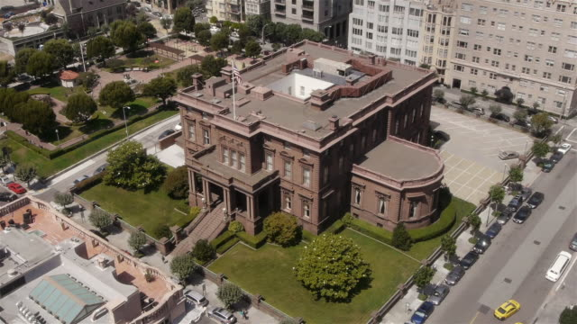 aerial view of the pacific-union club in nob hill, san francisco - nob hill stock videos & royalty-free footage