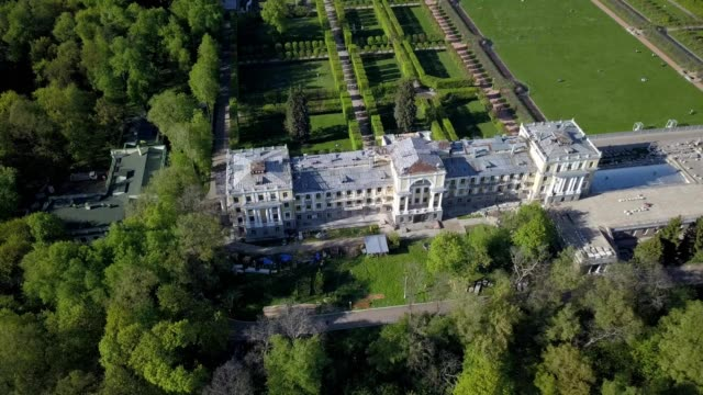 aerial view of the palace of arkhangelskoye in moscow russia - river moscva stock videos & royalty-free footage
