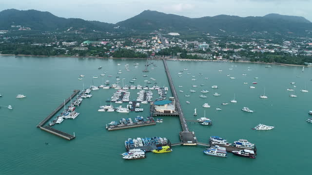 aerial view of the pattaya city with the tourist on the dock - pier stock videos & royalty-free footage
