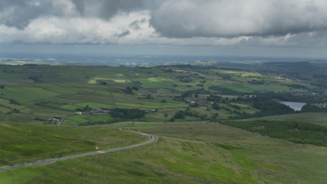 aerial view of the peak district, england - flying stock videos & royalty-free footage