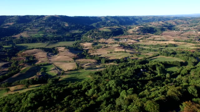 Aerial view of the plain from the Causse Comtal, Aveyron, France