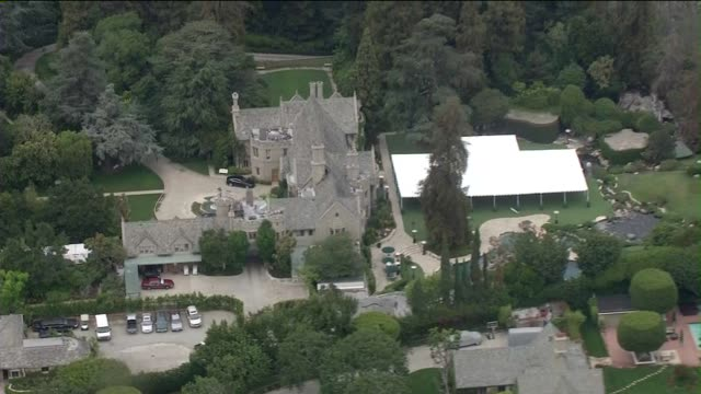 ktla aerial view of the playboy mansion - playboy mansion stock videos & royalty-free footage