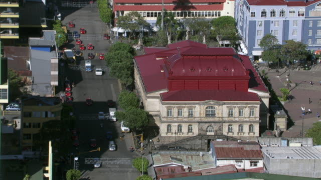 aerial view of the plaza de la cultura and the famous national theater of costa rica in san jose, costa rica - san jose costa rica stock videos & royalty-free footage