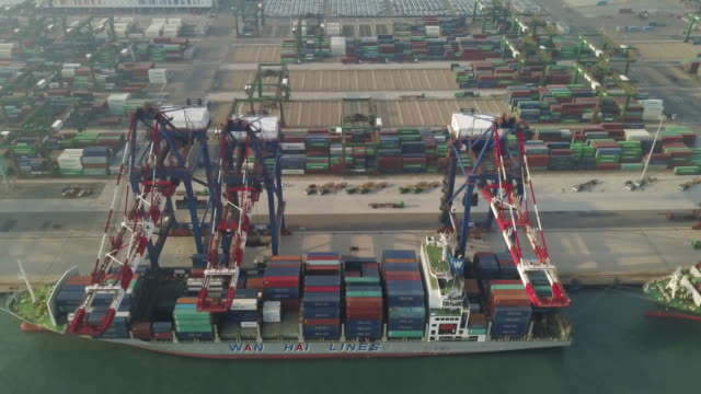 vídeos y material grabado en eventos de stock de ha, ws aerial view of the port of taipei / taipei, taiwan - taiwán