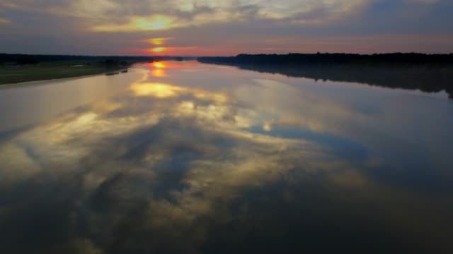 aerial view of the potomac river at sunset dusk in maryland - canal stock videos & royalty-free footage