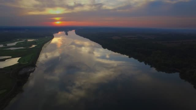 aerial view of the potomac river at sunset dusk in maryland - eastern usa stock videos and b-roll footage