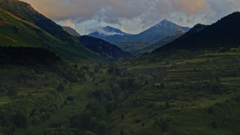 aerial view of the pyrenees mountain range at sunset - valley stock videos & royalty-free footage