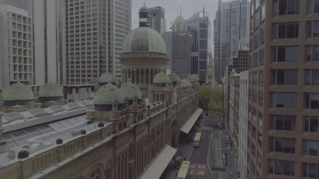 aerial view of the queen victoria building (qvb). sydney australia - dome stock videos & royalty-free footage