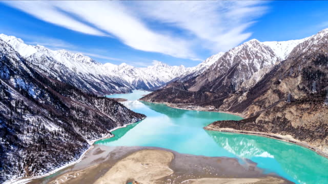 aerial view of the ranwu lake - time lapse - tibet stock videos & royalty-free footage