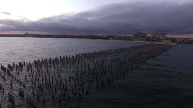 aerial view of the remains of princes pier, port melbourne - david ewing stock videos & royalty-free footage