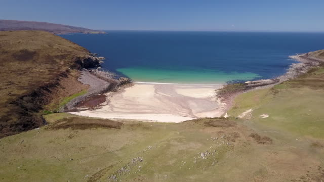 aerial view of the remote slaggon beach in the north west region of scotland - scottish highlands stock videos and b-roll footage