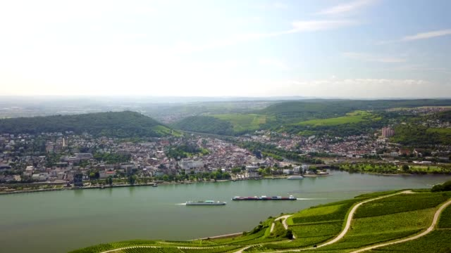 aerial view of the rhine river in hesse germany - river rhine stock videos & royalty-free footage