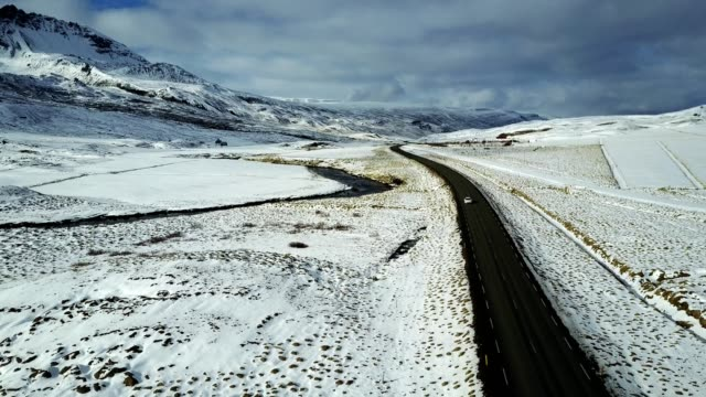 Luftbild von der Ringstraße in Island mit dem Schnee-Hintergrund