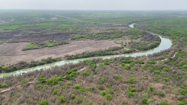 aerial view of the rio grande, as seen from a texas department of public safety helicopter near the u.s.-mexico border on march 23 in mcallen, texas.... - mcallen texas stock videos & royalty-free footage