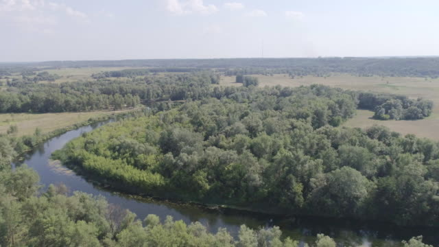 aerial view of the river in the meadows on a summer day - ukraine stock videos and b-roll footage