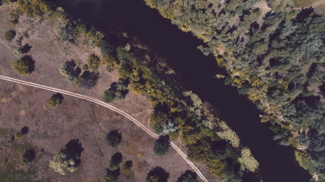 aerial view of the river in the meadows - ukraine stock videos and b-roll footage