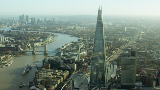 aerial view of the river thames and shard - shard london bridge stock videos & royalty-free footage