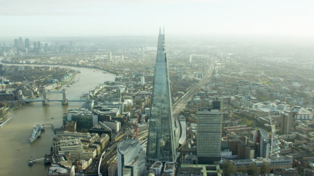 aerial view of the river thames and shard - aerial view stock videos & royalty-free footage