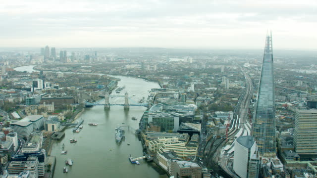 aerial view of the river thames and shard - skyline stock videos & royalty-free footage