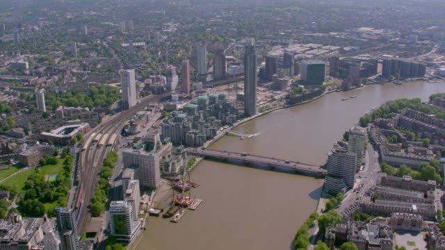 aerial view of the river thames at vauxhall, london, uk. 4k - city of westminster london stock videos & royalty-free footage