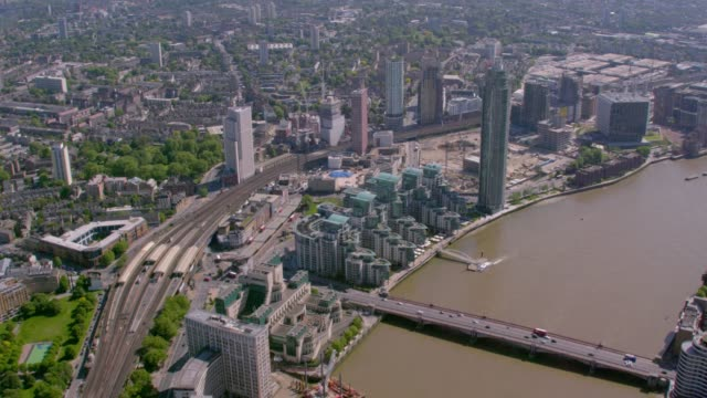 aerial view of the river thames at vauxhall, london, uk. 4k - us embassy stock videos & royalty-free footage