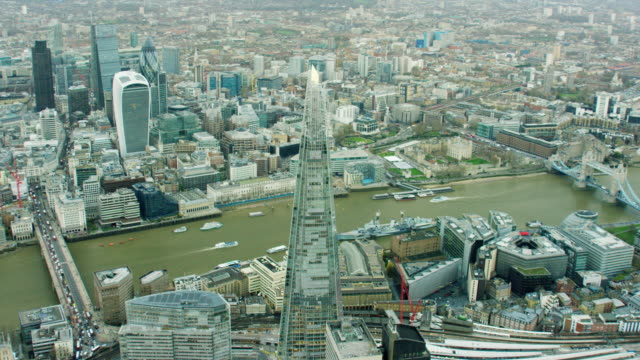 aerial view of the river thames in london - shard london bridge stock videos & royalty-free footage